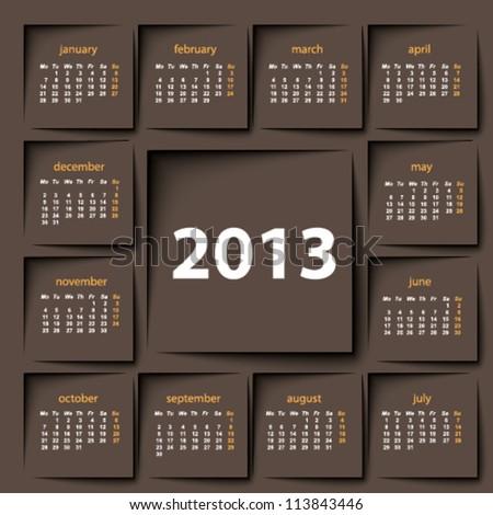 post it 2013 calendar - stock vector