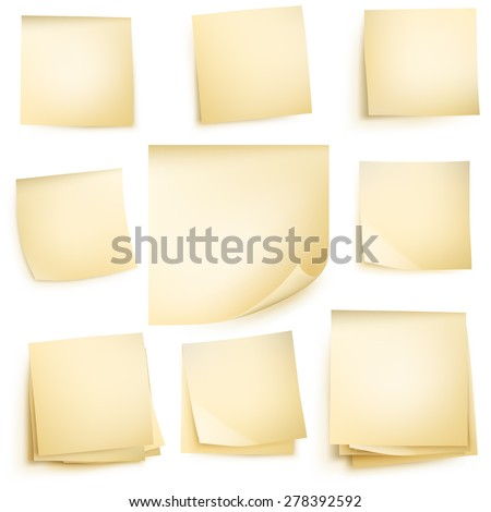 Post it notes isolated on white background. EPS 10 vector file included - stock vector