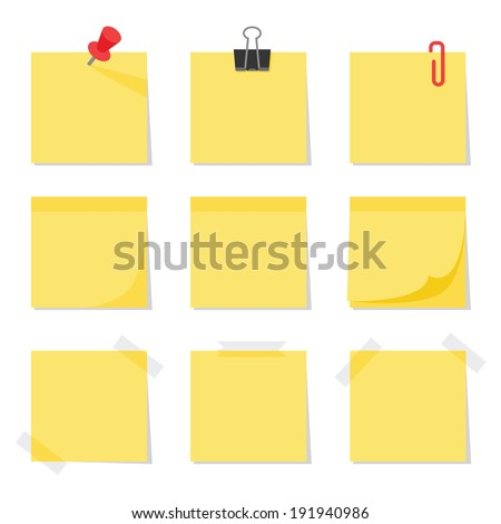 Post it notes, vector - stock vector