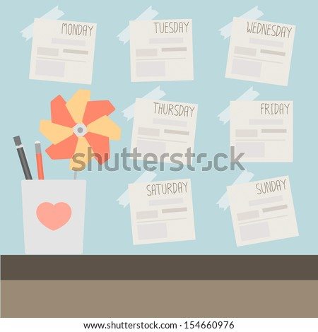post it on blue wall with pencil and turbine - stock vector