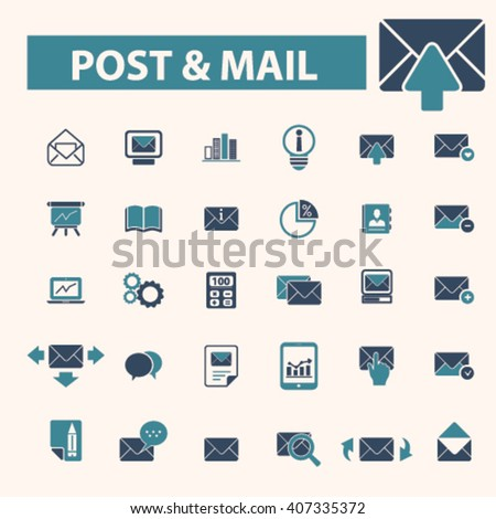 post mail icons  - stock vector