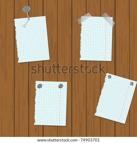 Post notes on wood background - stock vector