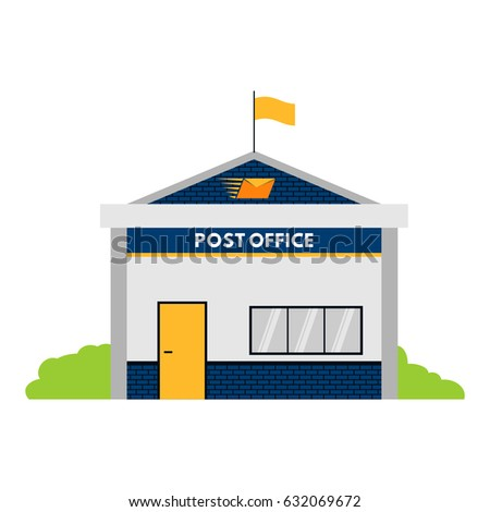 Post Office Building Flat Design Vector Stock Vector Royalty Free