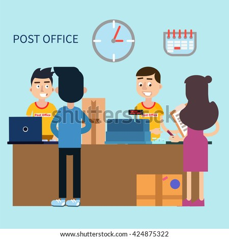 Post Office. Woman Receiving Letter. Postal Service. Man Sending Parcel. Postal Delivery, Mail Man, Postal Worker, Mail Delivery, Sending Parcel, Mail Staff, Postal Office. Vector illustration - stock vector