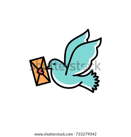 Post Pigeon Icon, Dove sign. Line art colorful design, Vector flat illustration