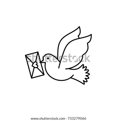 Post pigeon icon, Dove sign. Line art design, Vector flat illustration