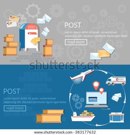 Post services banners international delivery and logistic parcels vector illustration - stock vector