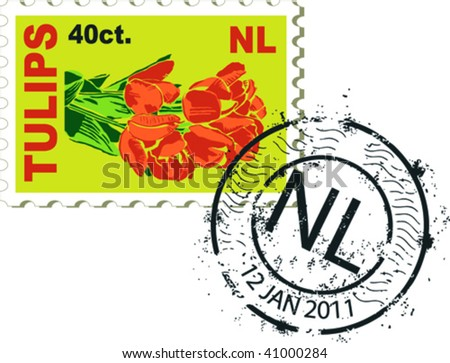 Post stamp and stamp from Holland