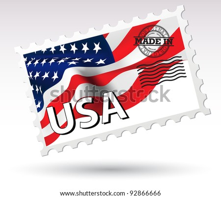 Post stamp Made in USA vector - stock vector