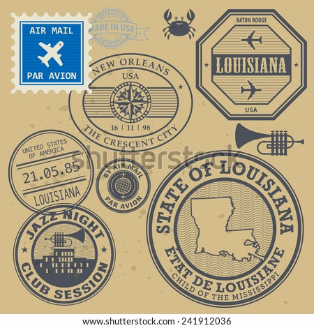 Post stamps set with name of Louisiana, New Orleans, vector illustration
