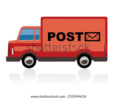 post truck, red color - stock vector