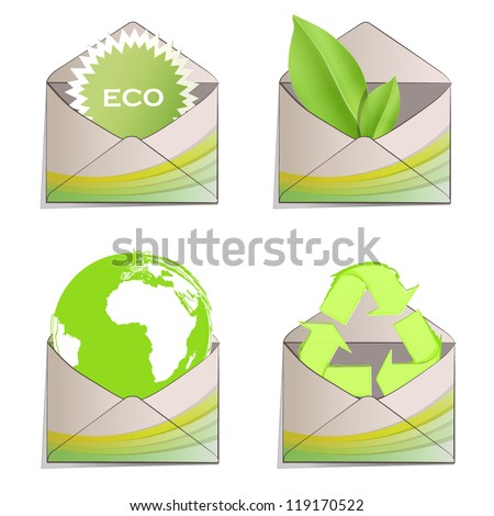 Post with ecological elements printed in it. Vector design - stock vector