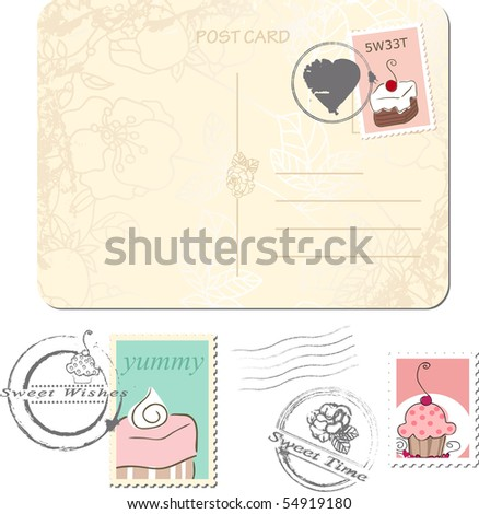 postage set - sweets - stock vector