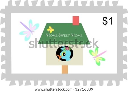 Postage Stamp of Home Sweet Home Birdhouse Vector - stock vector