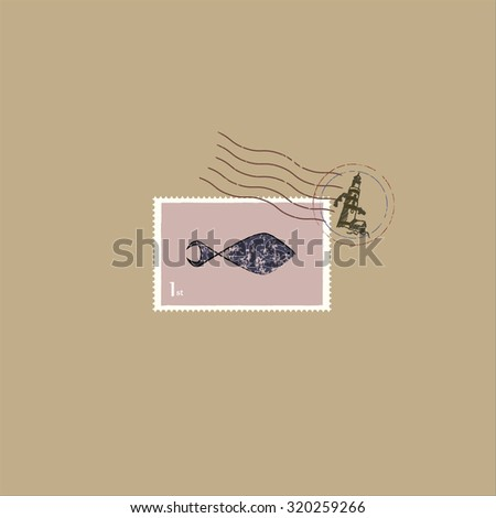 Postage stamp with fish - stock vector