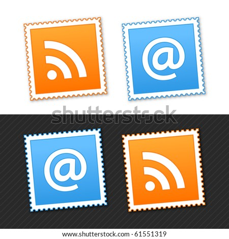 Postage stamp with rss and commercial at signs and shadow on white  and black background. 10 eps - stock vector