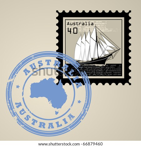 Postage stamp with sailing ship and postmark with text Australia, vector illustration - stock vector