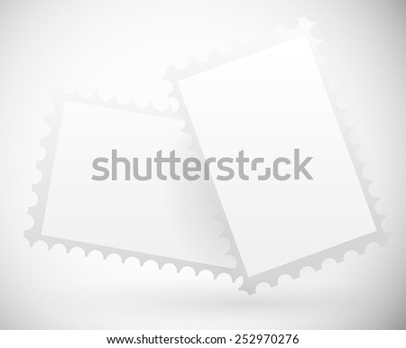 Postage stamps (Clip your images in the white rectangles) - stock vector
