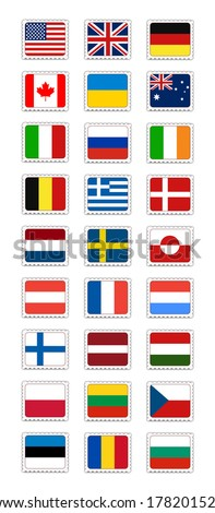 Postage Stamps Set - stock vector