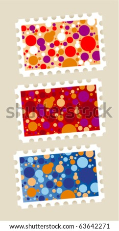 Postage stamps stickers set - stock vector