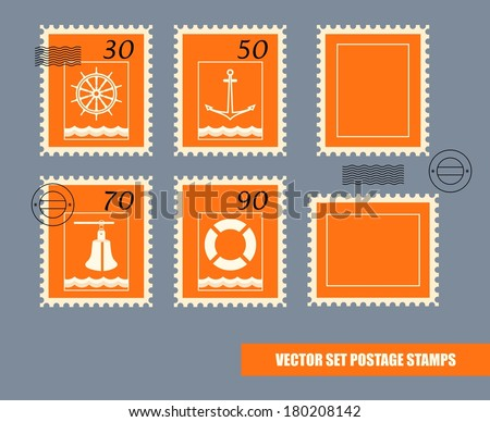 Postage stamps vector set - stock vector