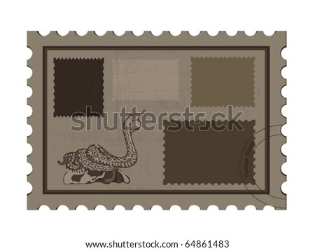Postage stamps with cobra - stock vector