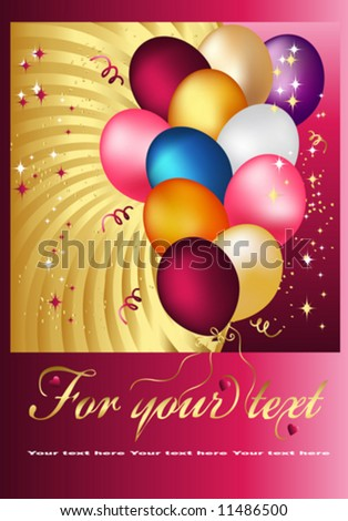 Postal Copula of wonderful balloons. Vector Design.
