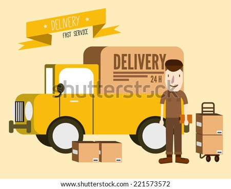 Postal delivery courier man in front of cargo van. delivering package. flat design. vector illustration - stock vector