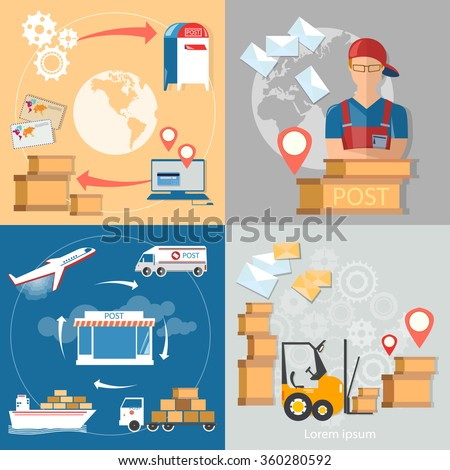 Postal delivery post office service postman letters and parcels vector set - stock vector