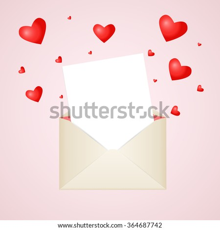 Postal envelope with piece of paper and red hearts for greeting with Valentine Day or for your wedding invitations or thank you cards. Red heart around the envelope symbolize love and romance. - stock vector