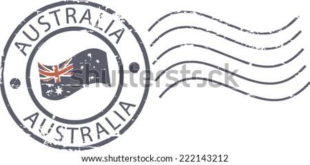 Postal grunge stamp 'Australia' - stock vector