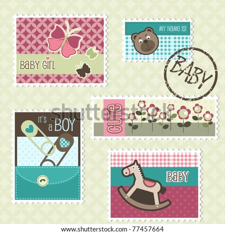 Postal stamps with baby elements, vector - stock vector