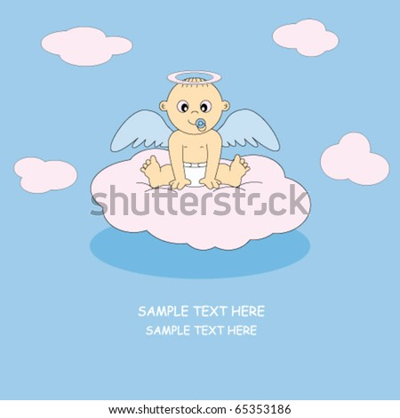 postcard angel boy - stock vector