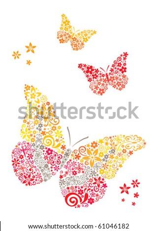 Postcard butterflies - stock vector