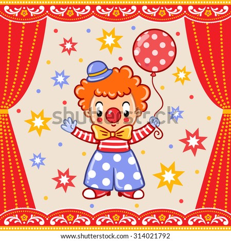 Postcard, card, poster or invitation with a circus clown. - stock vector