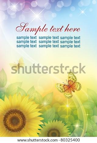Postcard. Floral design - stock vector