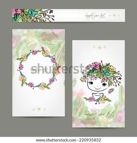 Postcard floral design with cute girl sketch - stock vector
