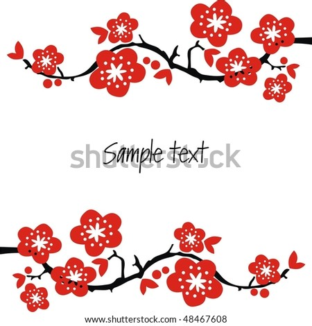 Postcard for holiday with red flowers on branches. Vector illustration.
