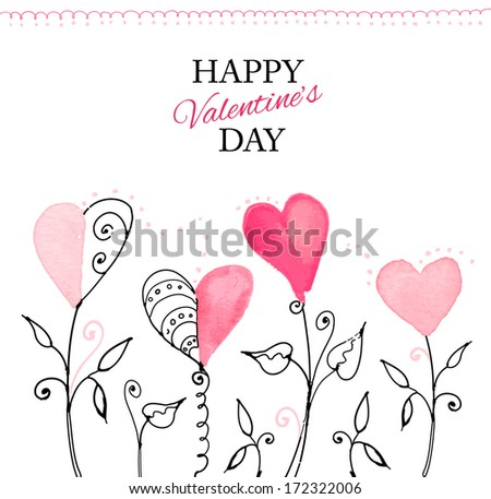Postcard for Valentine's day with hand drawn watercolor hearts. Vector illustration. - stock vector