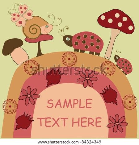Postcard from the snail and ladybug - stock vector