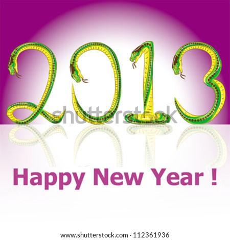 postcard Happy New Year snake 2013 vector - stock vector