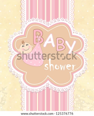 postcard in the birth of a child, vector illustration - stock vector