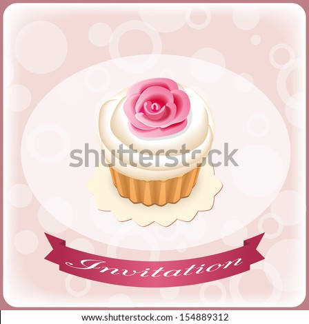 postcard invitation with cake - eps10 - stock vector