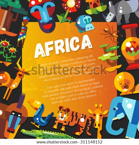 Postcard of vector flat design african icons and infographics elements with animals  - stock vector