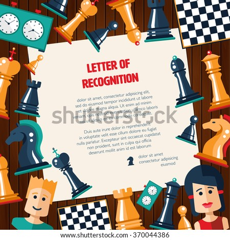 Postcard of vector flat design isolated named chess icons. Collection of the king, queen, bishop, knight, rook, pawn, board, clock and players - stock vector