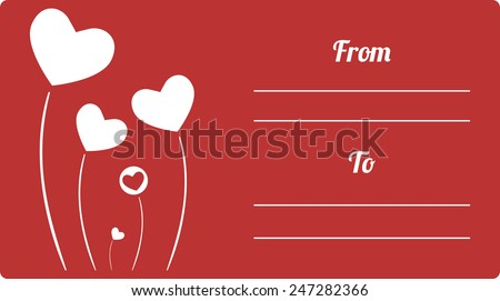 Postcard or invitation template with abstract hearts flowers. Can be used as present tag. Vector illustration. - stock vector