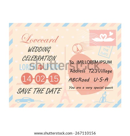 postcard template for wedding invitation - stock vector