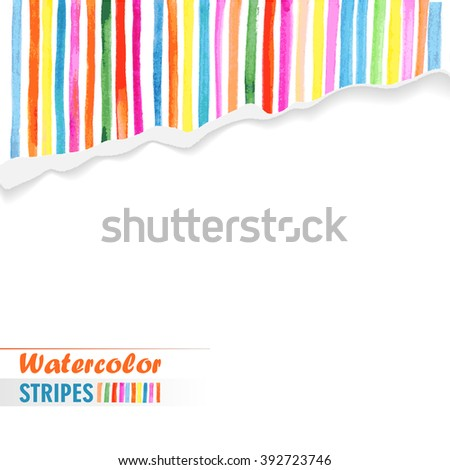 postcard template with bright colored stripes painted on torn paper