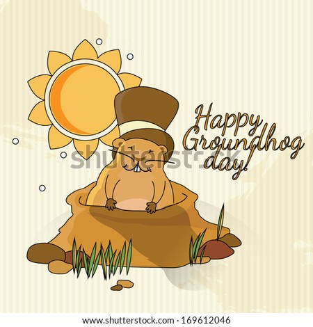 Postcard to Groundhog Day / Congratulations to the end of winter and beginning of spring - stock vector