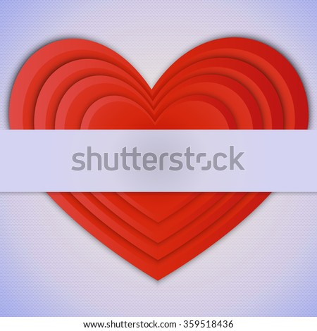 Postcard Valentine's Day. A bright red heart volume, consisting of superposed in order of small hearts with place for text on a retro background.